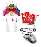 Different hangers with shirts and a computer mouse Royalty Free Stock Image
