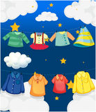 Different hanging clothes. Illustration of the different hanging clothes Royalty Free Stock Photography