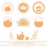 Different harvest designs. With wheat and apples Royalty Free Illustration