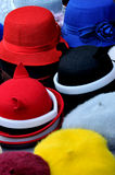 Different hat in round shape. Various of hat in different color and size and round shape, shown as same type and difference or colorful dress and clothing in Royalty Free Stock Photography