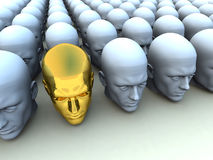 Different Head. Conceptual image about being an individual amongst conformists Stock Photography