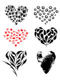 Different heart print set. Different hearts print set in black and red color Stock Photography