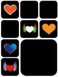 Different heart shape. Different kinds of  heart shape in black box Stock Image