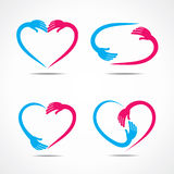 Different heart shape symbol design with hand Royalty Free Stock Images