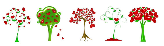 Different heart tree illustration Royalty Free Stock Photography