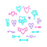 Different hearts doodles. royalty free illustration