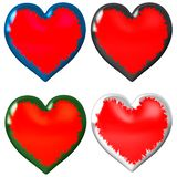 4 different hearts, each one high-size and can be used separately royalty free illustration
