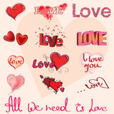 Different hearts and hand writing of Love Royalty Free Stock Photo
