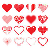 Different hearts icons set love passion valentines Royalty Free Stock Images