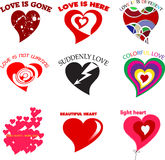 Different hearts with romantic description.  Royalty Free Stock Image