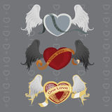 3 different hearts with wings. Vector illustration in the form of a winged heart tattoo design with, a ribbon and a grunge texture. The photo 3 different heart Royalty Free Stock Photography