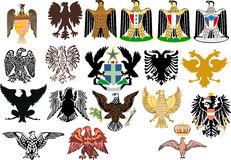 Different heraldic eagles on white Stock Images