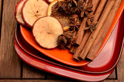 Different herbs and dried fruits Royalty Free Stock Photo