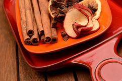 Different herbs and dried fruits Stock Photography