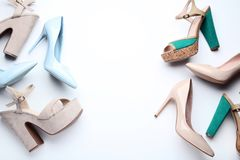 High heel shoes. Different high heel shoes on white background stock photo