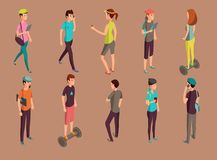 Different hipsters standing and using gadgets stock illustration