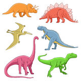 Different historical cute and funny dinosaurs Stock Photography