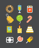 Different holiday icons set with rounded corners Stock Images