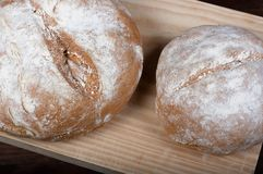 Rustic homemade bread of wholemeal spelled flour royalty free stock photo