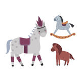 Different horses breed vector set. Stock Photography