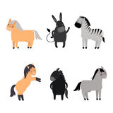 Different horses breed vector set. Royalty Free Stock Photography