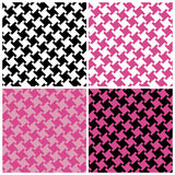 Different Houndstooth in Magenta and Black. An untraditional seamless houndstooth pattern in four magenta and black colorways Royalty Free Stock Images