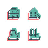 Different house, buildings icon set. Anaglyph 3d. Unique thin line pixel perfect icon set. Anaglyph 3D colorful style. Different house, buildings, institutes Royalty Free Stock Image