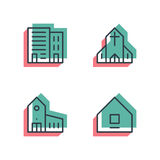 Different house, buildings icon set. Anaglyph 3d. Unique thin line pixel perfect icon set. Anaglyph 3D colorful style. Different house, buildings, institutes Royalty Free Stock Photo