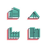 Different house, buildings icon set. Anaglyph 3d. Royalty Free Stock Photo
