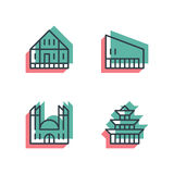Different house, buildings icon set. Anaglyph 3d. Unique thin line pixel perfect icon set. Anaglyph 3D colorful style. Different house, buildings, institutes Stock Photos