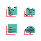 Different house, buildings icon set. Anaglyph 3d. Unique thin line pixel perfect icon set. Anaglyph 3D colorful style. Different house, buildings, institutes Stock Photography