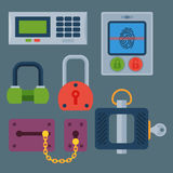 Different house door lock icons set vector safety password privacy element with key and padlock, protection security Royalty Free Stock Photos