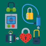 Different house door lock icons set vector safety password privacy element with key and padlock, protection security Royalty Free Stock Image