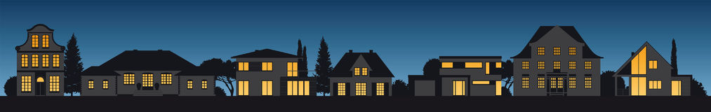 Different house facades illuminated by night. Different old and modern vector house facades illuminated by night Stock Image