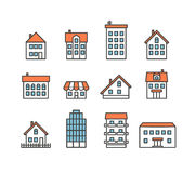Different house silhouettes collection Royalty Free Stock Images