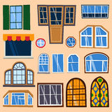 Different house windows vector elements Stock Photography