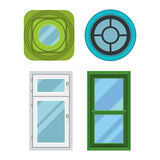 Different house windows vector elements Royalty Free Stock Images