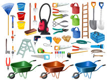 Different household tools and equipments Stock Images