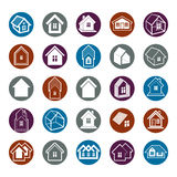 Different houses icons for use in graphic design, set of mansion. Conceptual symbols – abstract property images. Real estate business abstract emblems Stock Photos