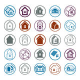Different houses icons for use in graphic design, set of mansion Royalty Free Stock Photo