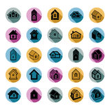 Different houses icons for use in graphic design, set of mansion Royalty Free Stock Photography