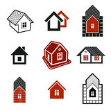 Different houses icons for use in graphic design, set of mansion Stock Images