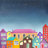 Different houses on the starry sky background Stock Photo