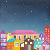 Different houses on the starry sky background Royalty Free Stock Image