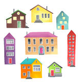Different houses on a white background Stock Image