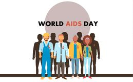 Different human with aids ribbons. Different human in flat style with aids ribbons stock illustration