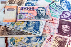 Different hungarian banknotes. Close-up of different hungarian forint banknotes Royalty Free Stock Photos