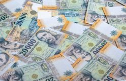 Different Hungarian banknotes, 20 thousand HUF. Hungarian banknotes. stock image