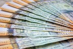 Different Hungarian banknotes, 20 thousand HUF. Stack of 20000 forints. stock image