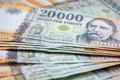Different Hungarian banknotes, 20 thousand HUF. Stack of 20000 forints. royalty free stock photo